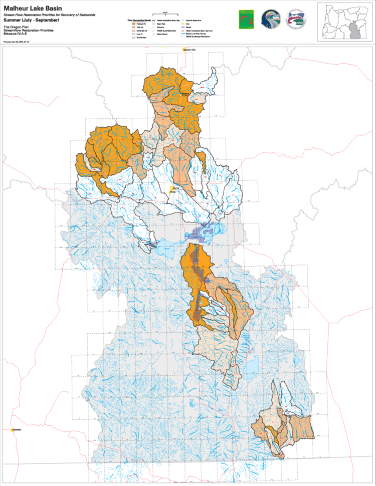 Malheur Lake Basin stremflow restoration priorities for the recovery of salmonids.